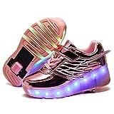 FZ FUTURE Kinder Schuhe mit Rollen, LED Rollschuhe mit Räder, Kinder Leuchtend Rollenschuhe, Flügel-Art Sneaker, 1 Räder für Kinder Mädchen Junge Erwachsene,Rosa,33
