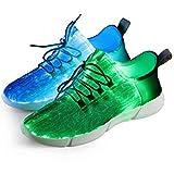 Fiber Optical Schuhe,LED Schuhe 7 Farben 4 Mods USB Wiederaufladbare Leuchten Schuhe Super Lightweight LED Sneaker für Männer und Frauen, Led Sneaker, 42 EU