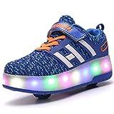Sunflower Kinderrollschuh-Schuhe LED Leuchten LED Leuchtschuhe Mit Rollen Rad-Schuh-Mode-Turnschuh-Mädchen-Jungen-bequemen Ineinander Greifen-Mode-Trainer,Blue-38