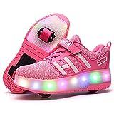 Sunflower Kinderrollschuh-Schuhe LED Leuchten LED Leuchtschuhe Mit Rollen Rad-Schuh-Mode-Turnschuh-Mädchen-Jungen-bequemen Ineinander Greifen-Mode-Trainer,Pink-30